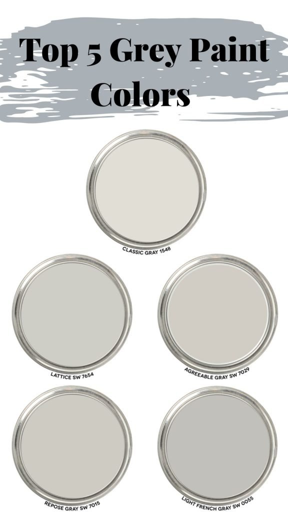 this is a graphic showing the top 5 grey paint colors classic grey by Benjamin Moore, repose grey by Sherwin Williams, agreeable grey by Sherwin Williams, lattice grey by sherwin williams and light French grey by Sherwin Williams