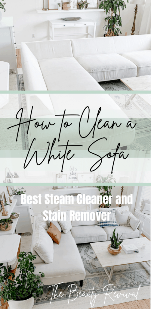 how to clean a white couch, sofa, sectional with the best affordable steam cleaner and stain remover for light upholstery