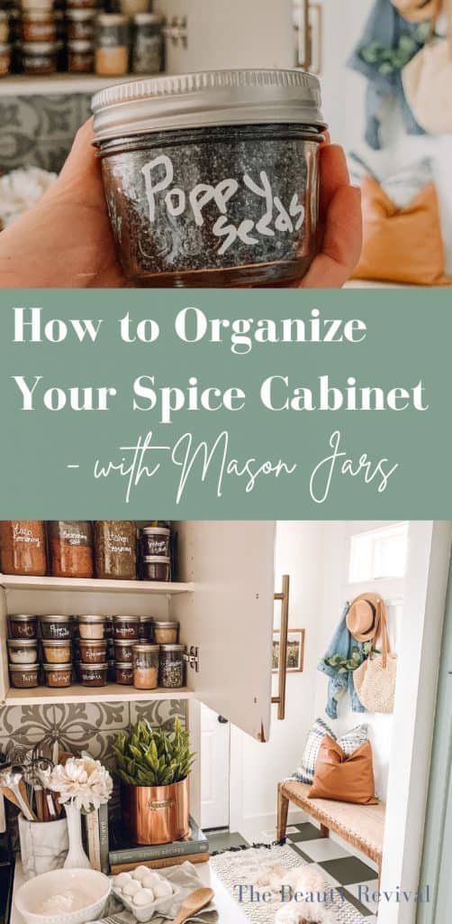 how to organize your spice cabinet with mason jars. Inexpensive way to organize your spices #spicecabinet #spiceorganization #organization