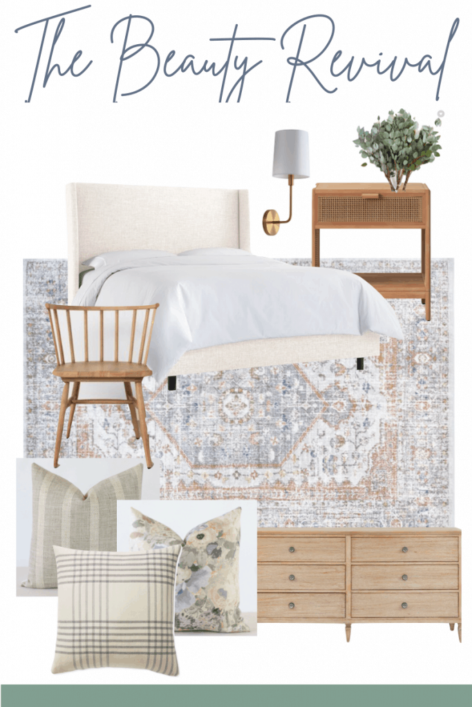 vintage inspired rug neutral bedroom design board #designboard #neutralbedroom #vintagerug