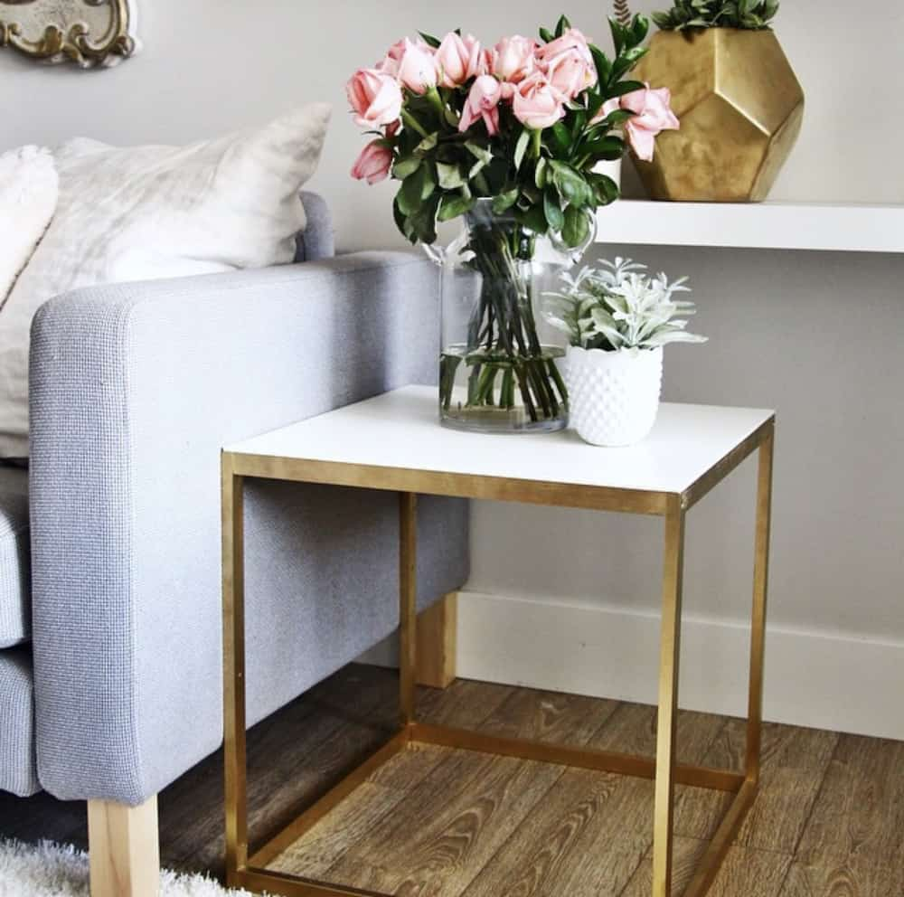 Ikea hack DIY gold end table