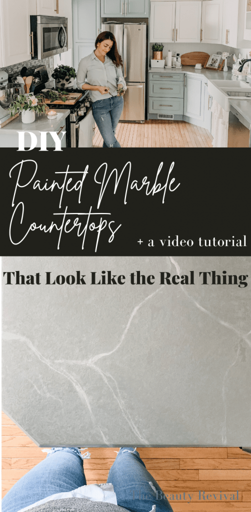 diy painted marble countertop tutorial for painting your laminate countertops! No epoxy required!! #paintedcountertops #diymarble #fauxmarble #marbletechnique