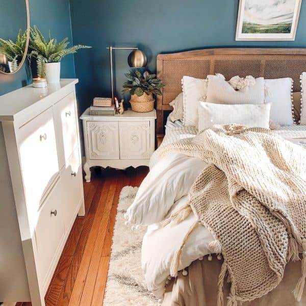 bedroom budget makeover, chimney by Behr walls, white pom pom bedding
