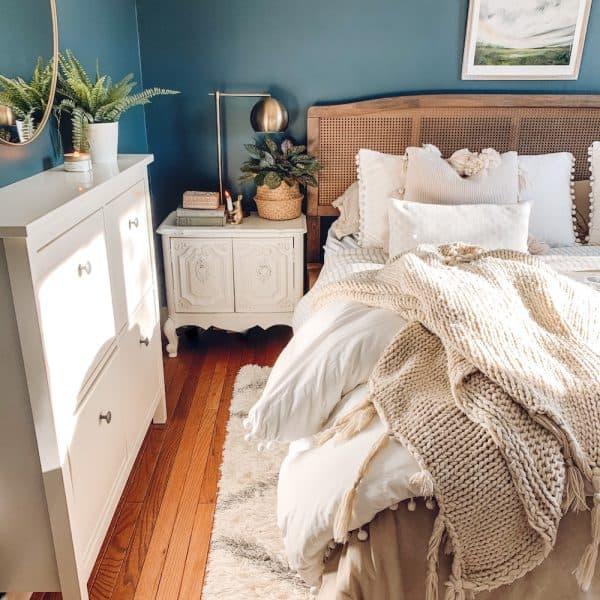 bedroom budget makeover, chimney by Behr walls, white pom pom bedding