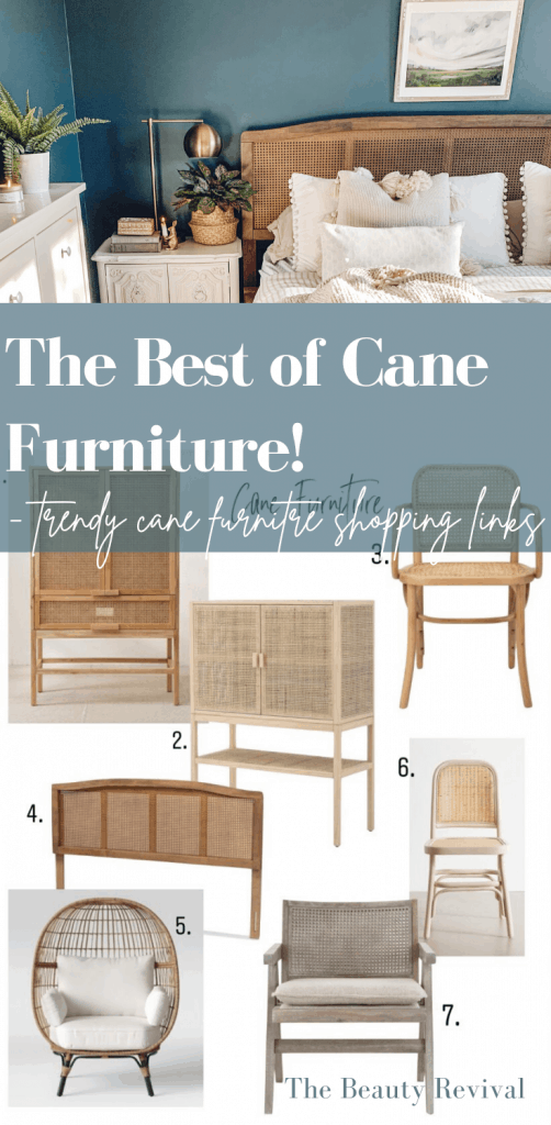 Cane furniutre is popping uo everywhere, and whats not to love about this trend that is in fact very timeless! Check out this post for the best of cane furniture finds and shoppable links! #canefurniture #homedecor #interiordesign #shoppingguide #caneheadboard