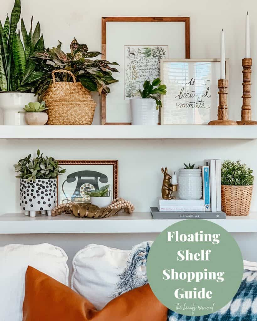 this is a pinterest pin for floating shelf shopping guide