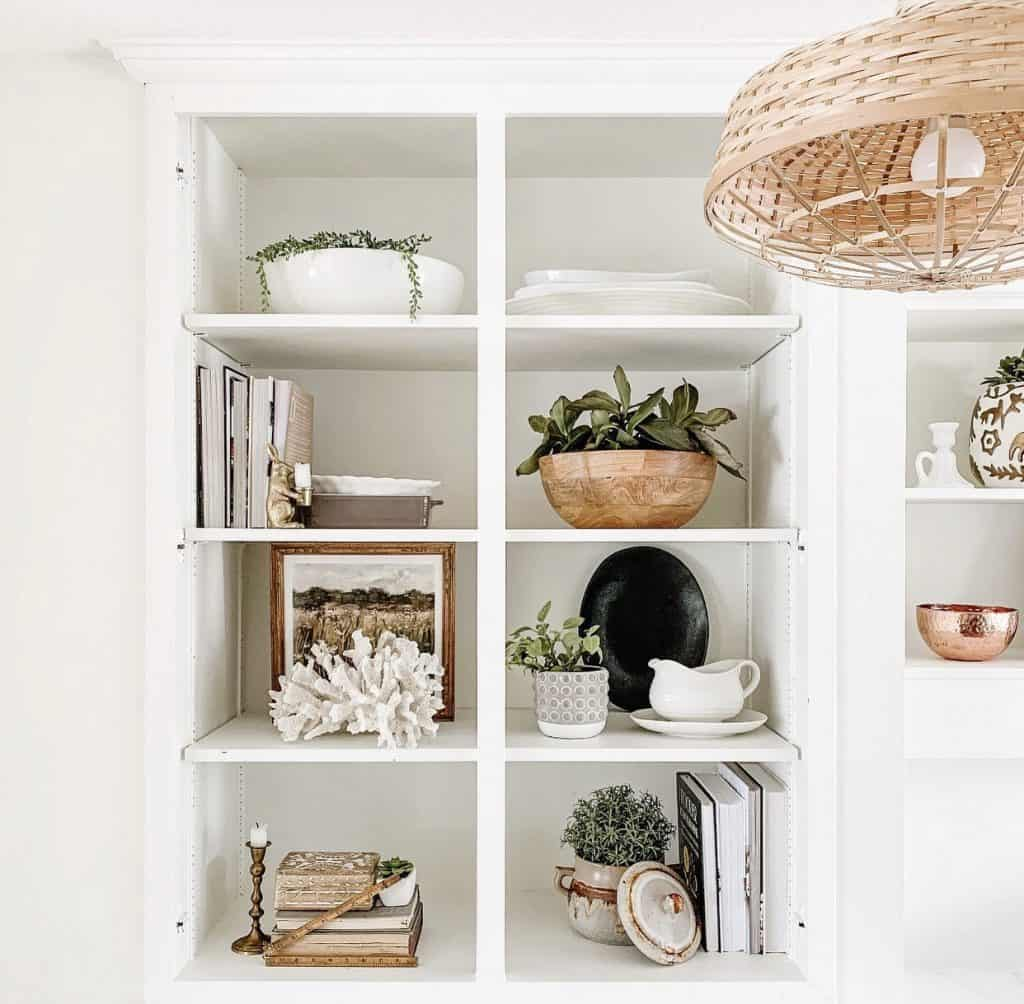 kitchen shelves with home decor and cookbooks