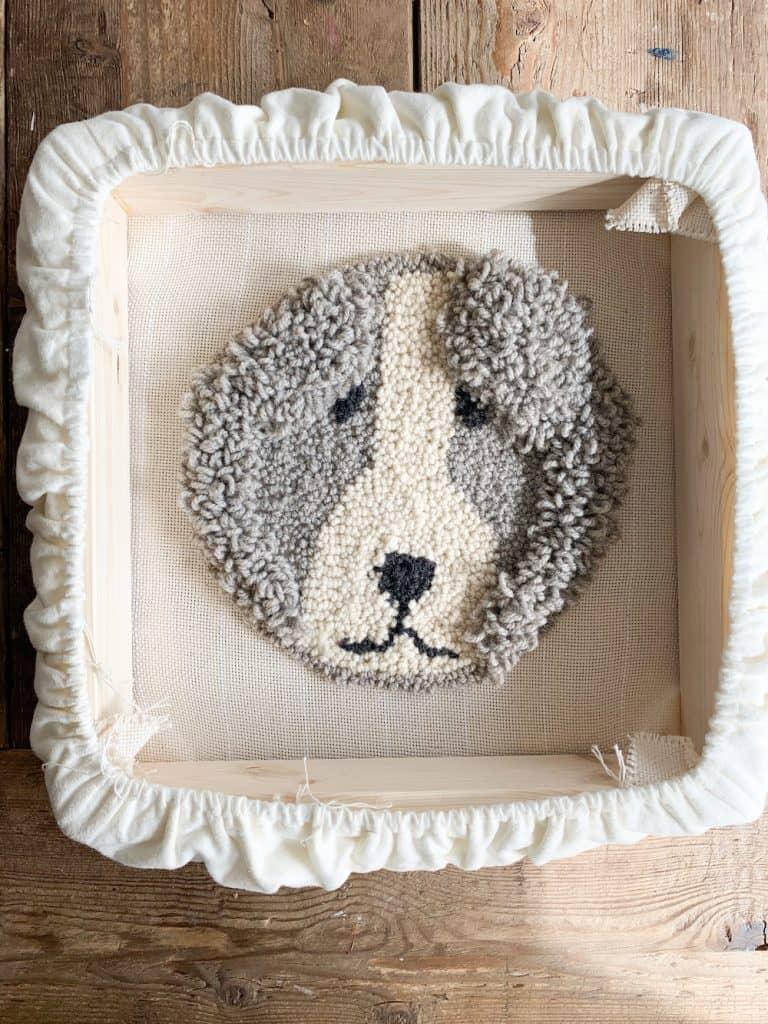 punch needle sheep dog design
