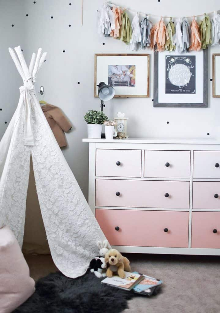 lace tee pee and ombre painted dresser in little girls room