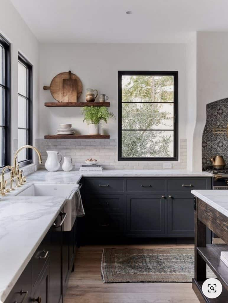 farmhouse kitchen with dark grey cabinets and open shelves