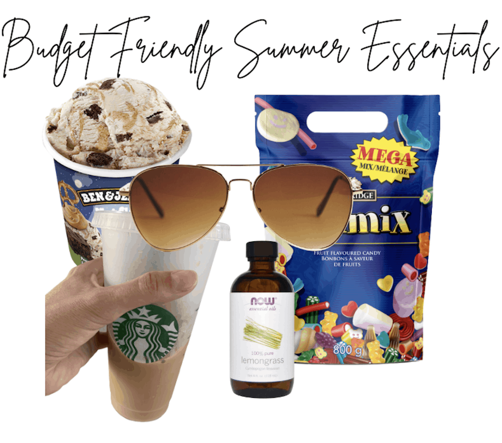 photo with ice cream, sunglasses, iced coffee, lemon essential oil, and candy