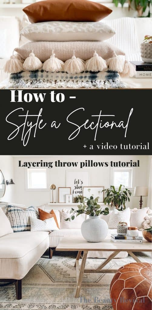 how to style a sectional photo, living room featured with a stack of pillows