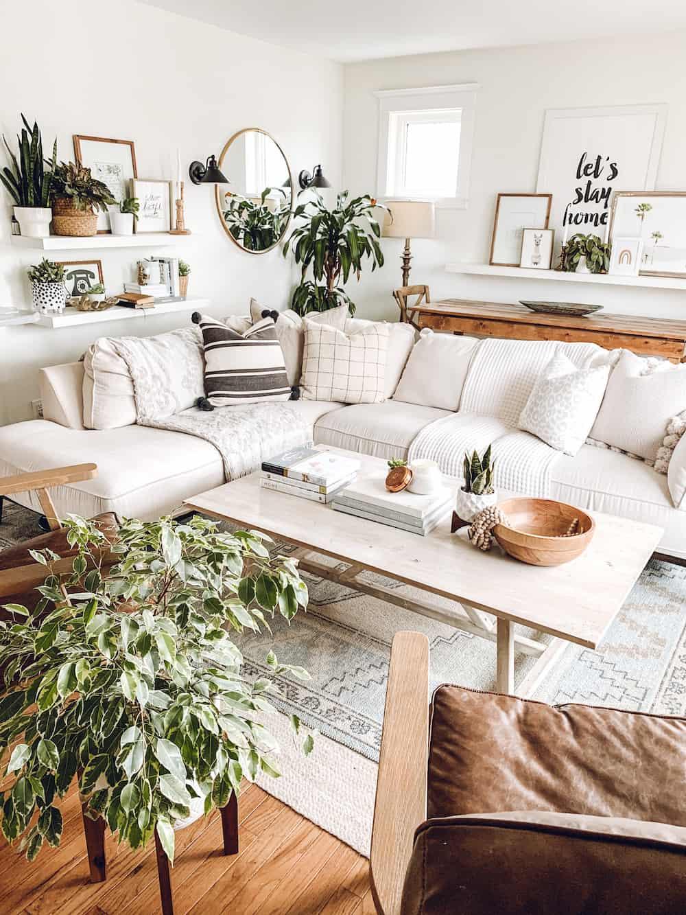 Neutral Boho Living Room Decor Tour 2020 - The Beauty Revival