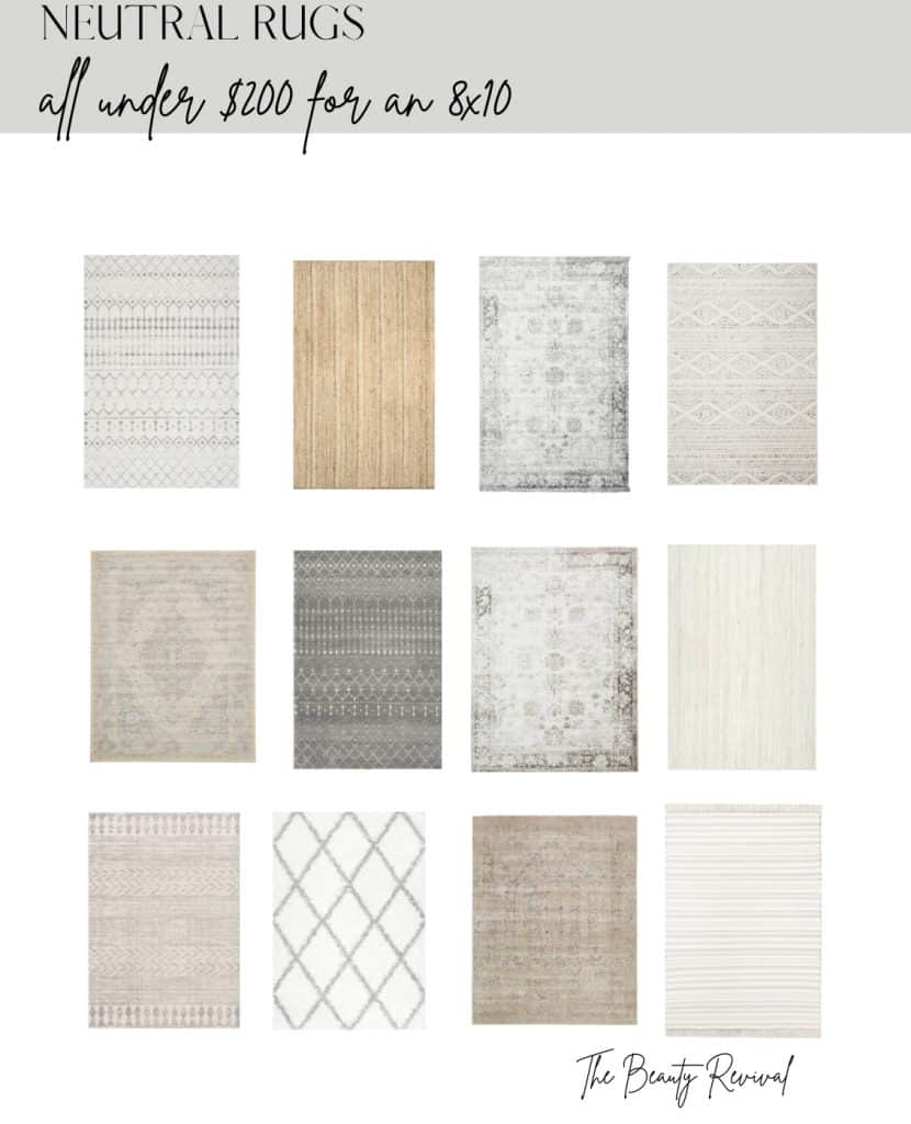 photo of 12 neutral rugs under $200