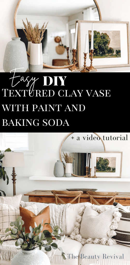 pinterest pin for our easy DIY textured clay vase with paint and baking soda