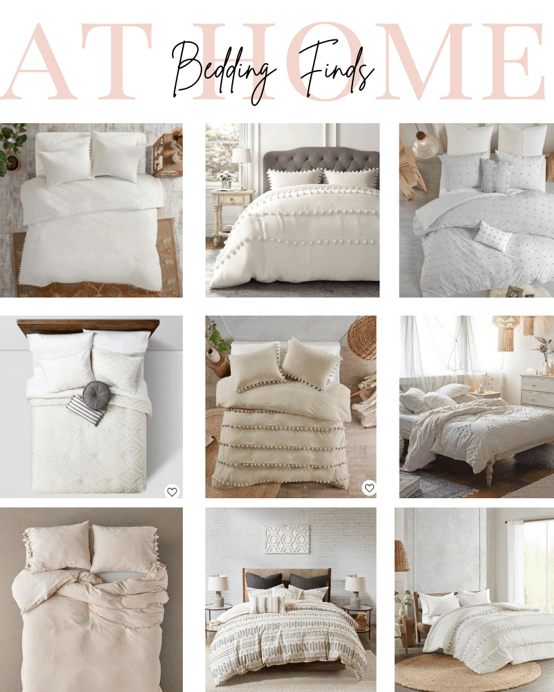 9 different neutral budget friendly bedding options all in white, cream, tan, and neutral colors
