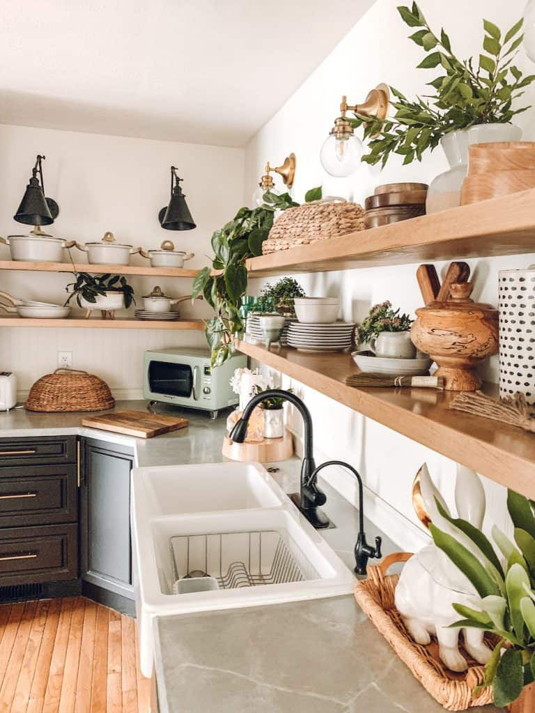 kitchen with open shelving and lots of decor