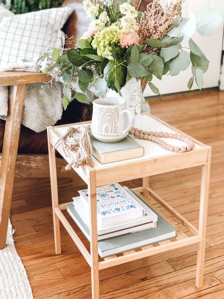 inexpensive side table from ikea in boho living room