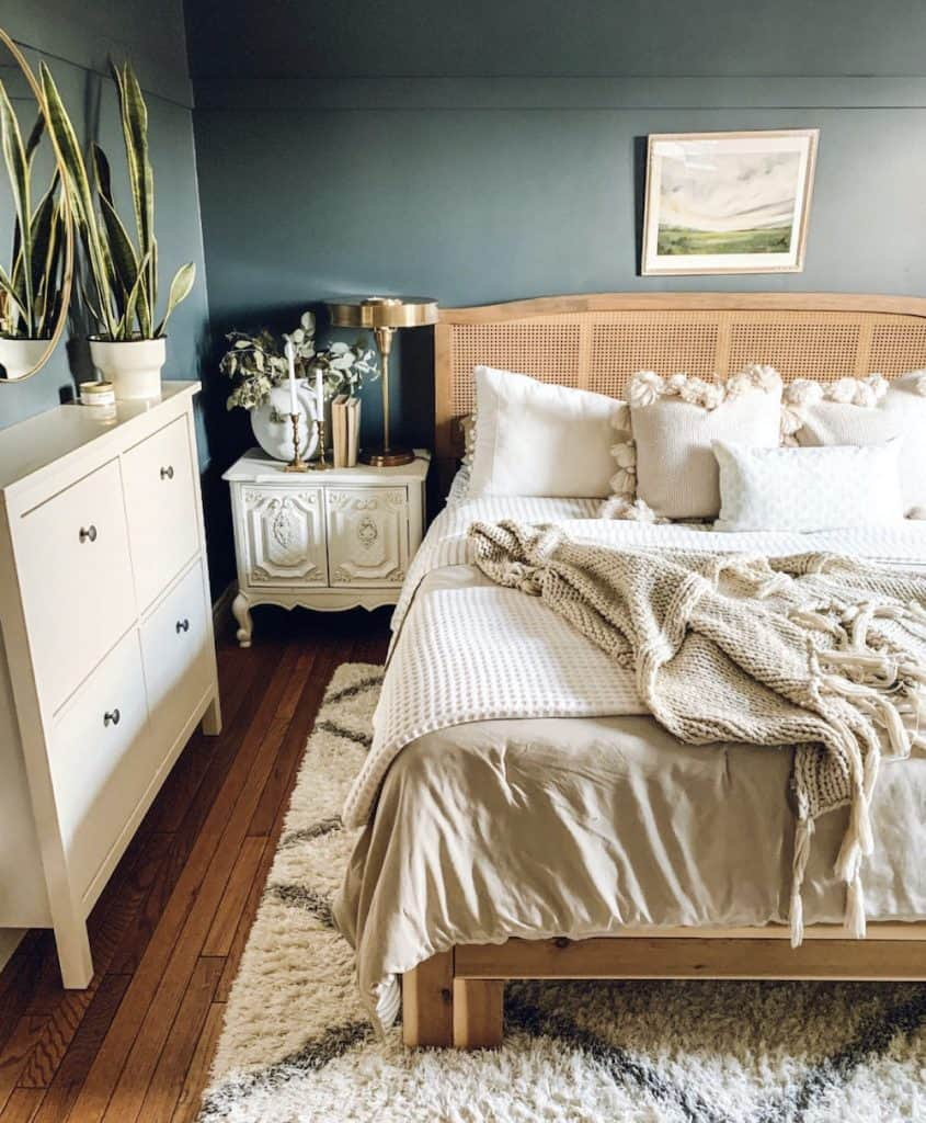 boho master bedroom with chimney by Behr walls