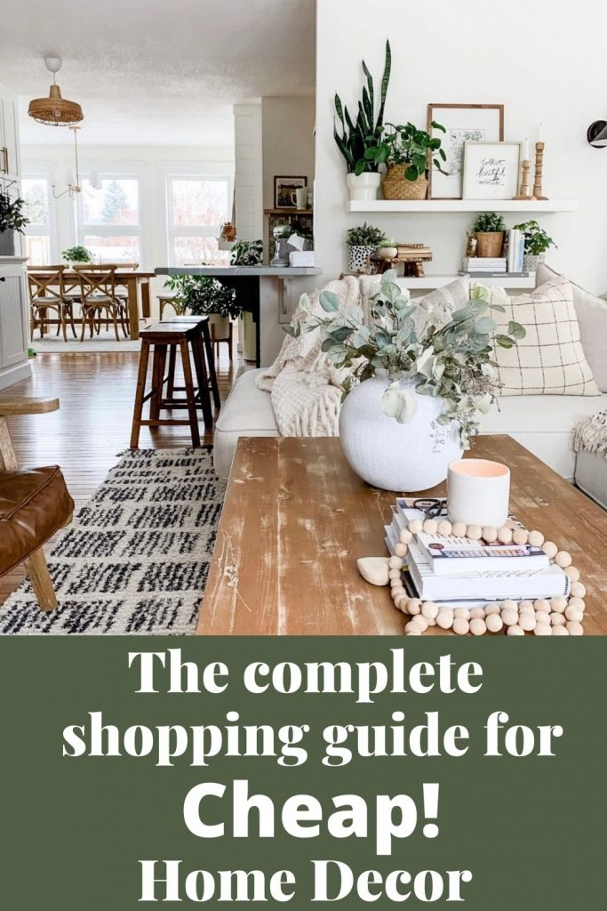 this is a pinterest pin for a complete guide for where to buy cheap home decor