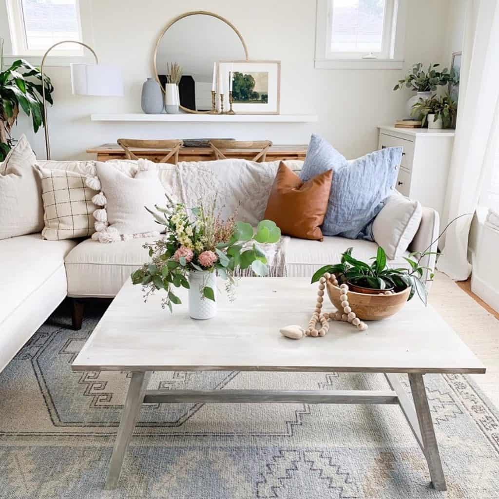 this is a photo of a coffee table made by revival goods in a living room