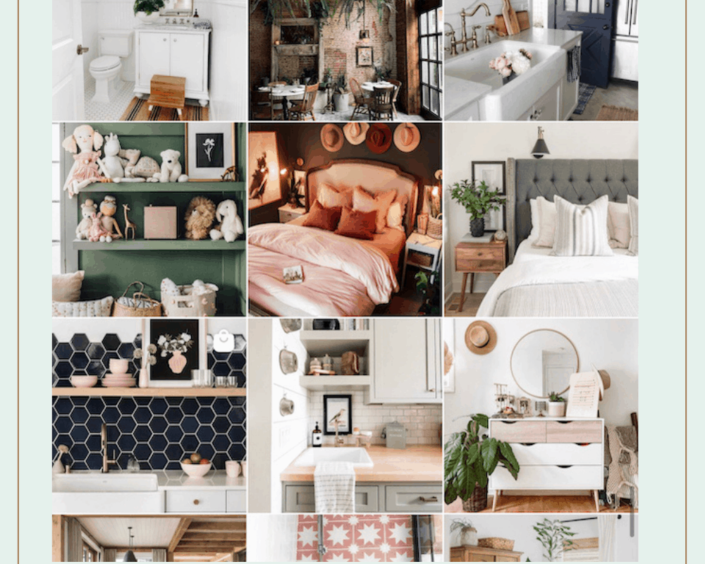 grid photo of multiple home design styles