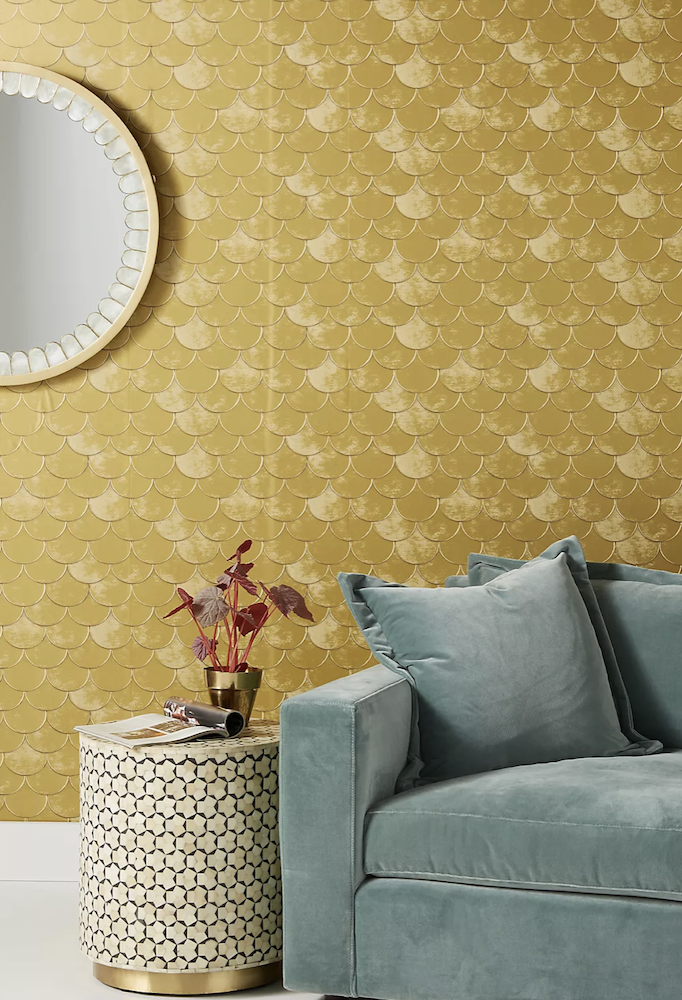 this is a photo of gold scalloped removable wallpaper in a living room