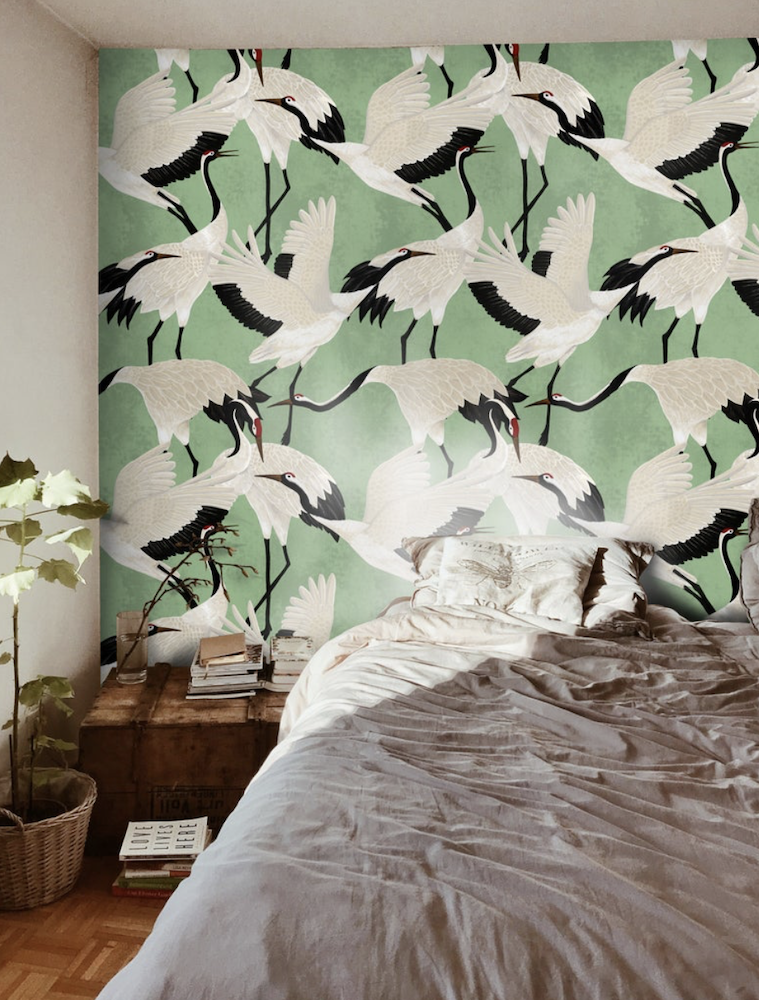 this is a photo of a room with removable wallpaper featuring storks