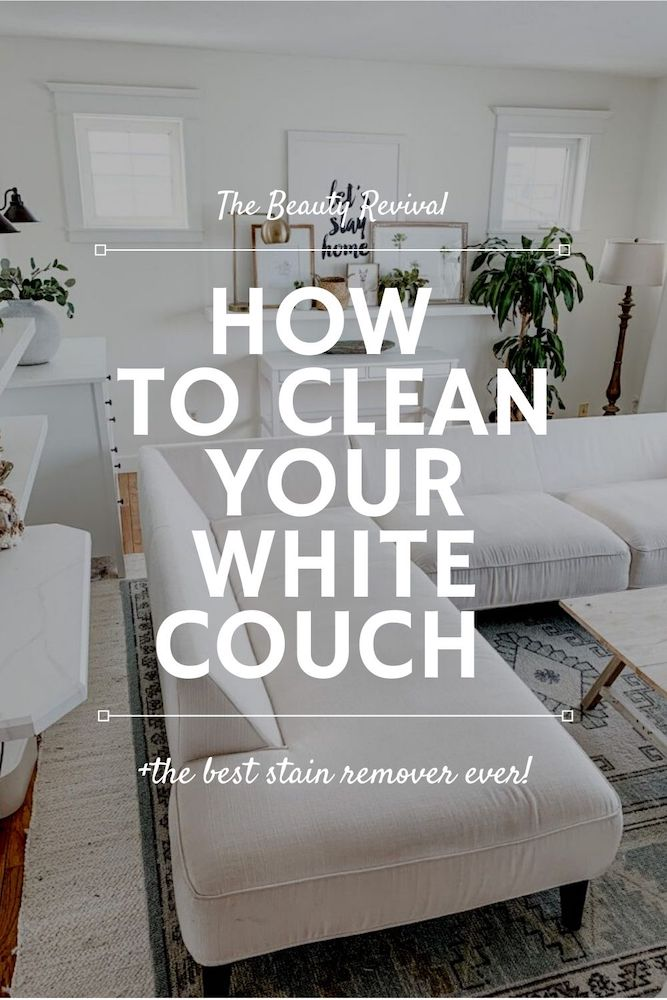 this is a photo of a pinterest pin for how to clean your white couch!