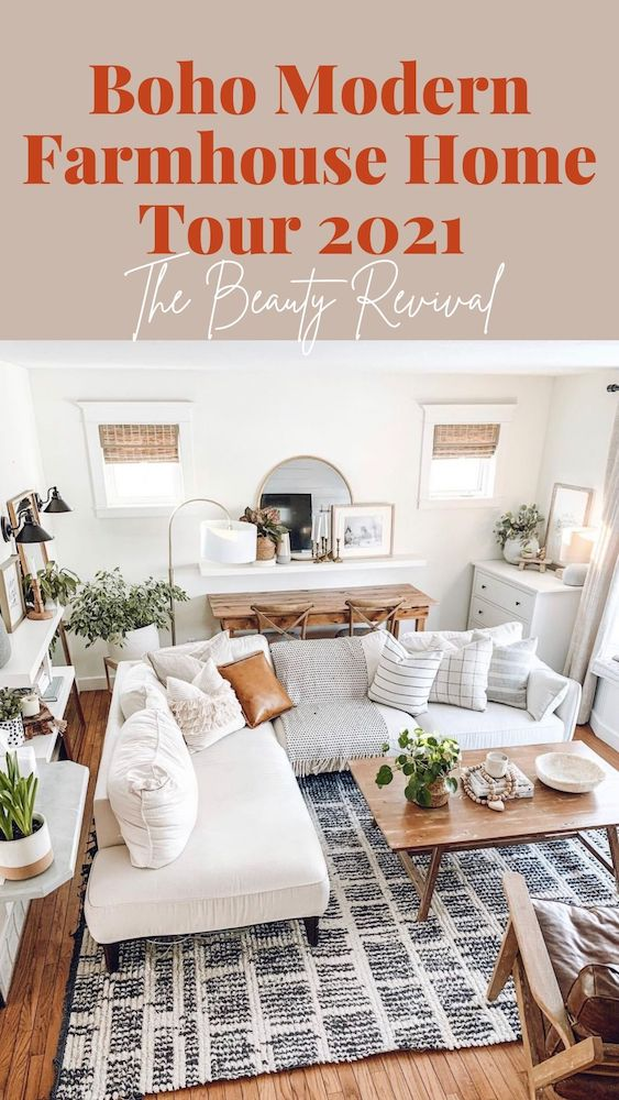 this is a photo of a pinterest pin for our boho modern farmhouse home tour