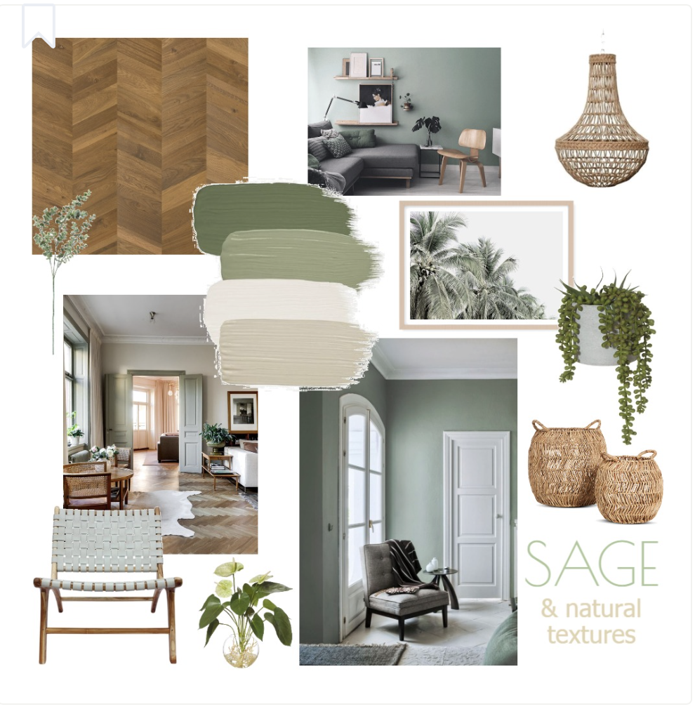this is an image of a mood board for a living room