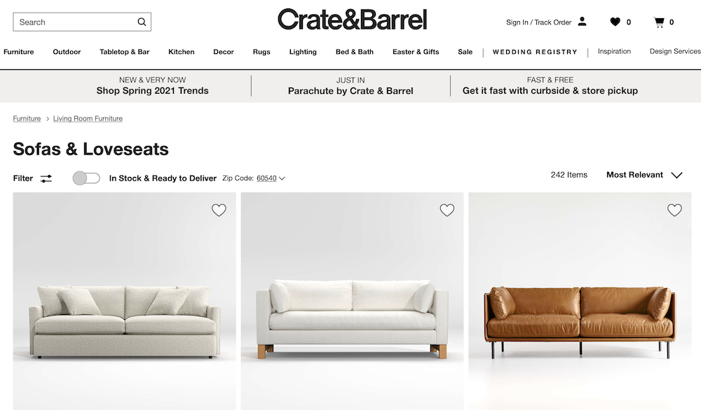 this is a screen shot of crate and barrel