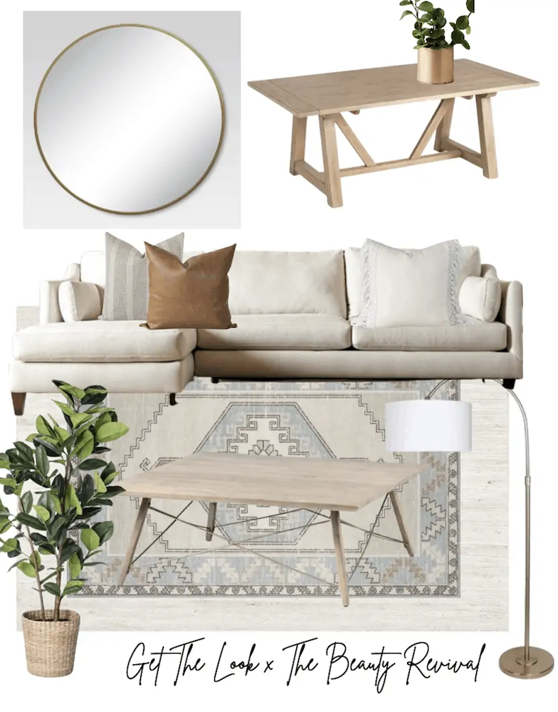 this is a photo of a mood board for a living room