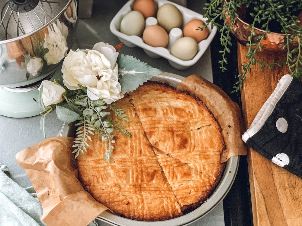 this is a photo of baked Boterkoek or butter cake on a counter