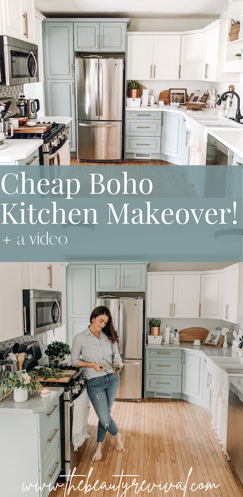 this is a pinterest pin for a budget friendly kitchen makeover