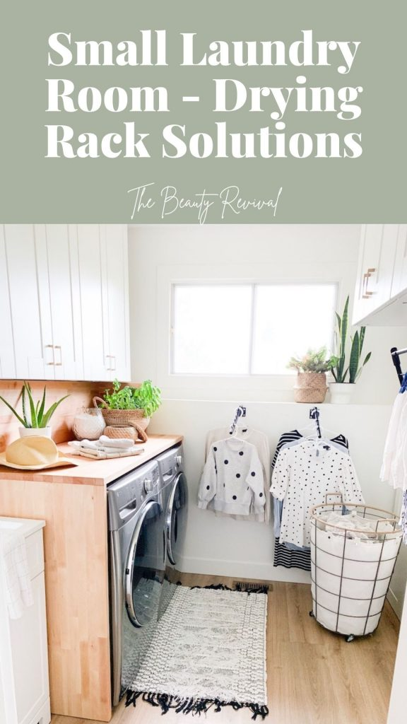 this is a pinterest pin for small laundry room hanging drying rack solutions
