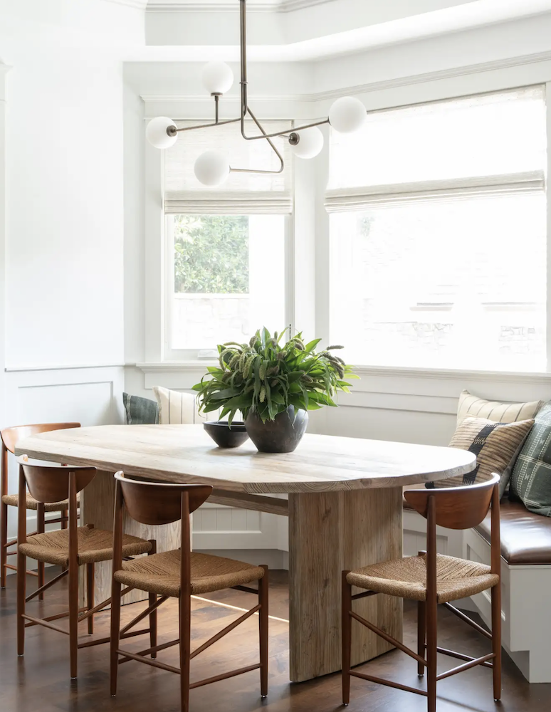this is a photo of a mismatched dining room set