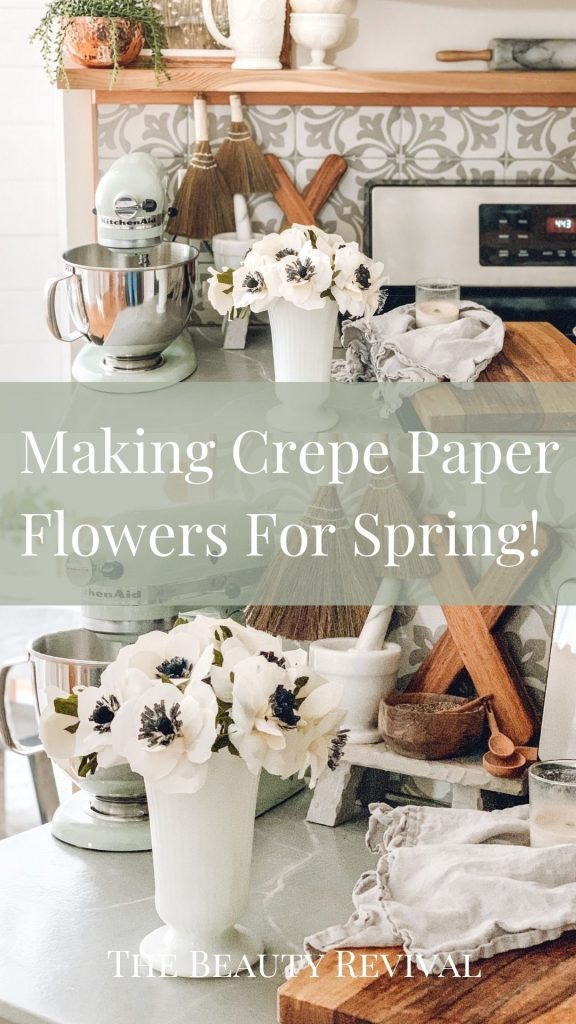 this is a pinterest pin for making crepe paper flowers for spring
