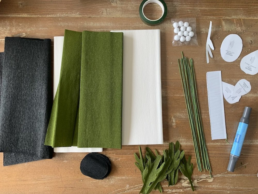 this is a photo of supplies for making anemone crepe paper flowers