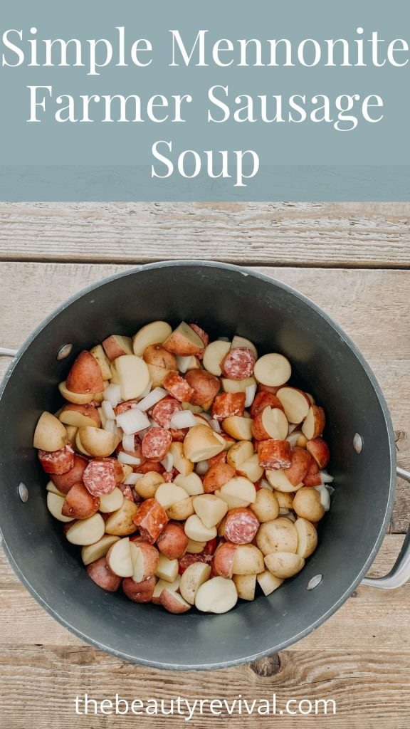 this is a pin for simple mennonite farmer sausage soup recipe