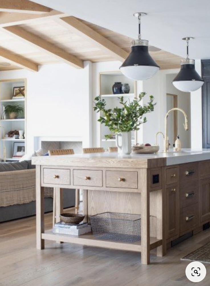 this is a photo of a modern farmhouse kitchen island