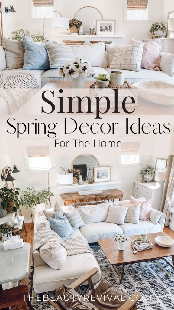 this is a pinterest pin for 5 simple spring decor ideas