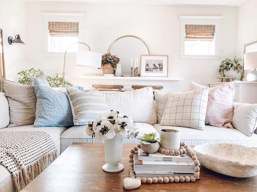 this is a photo of a light and bright living room with spring decor ideas