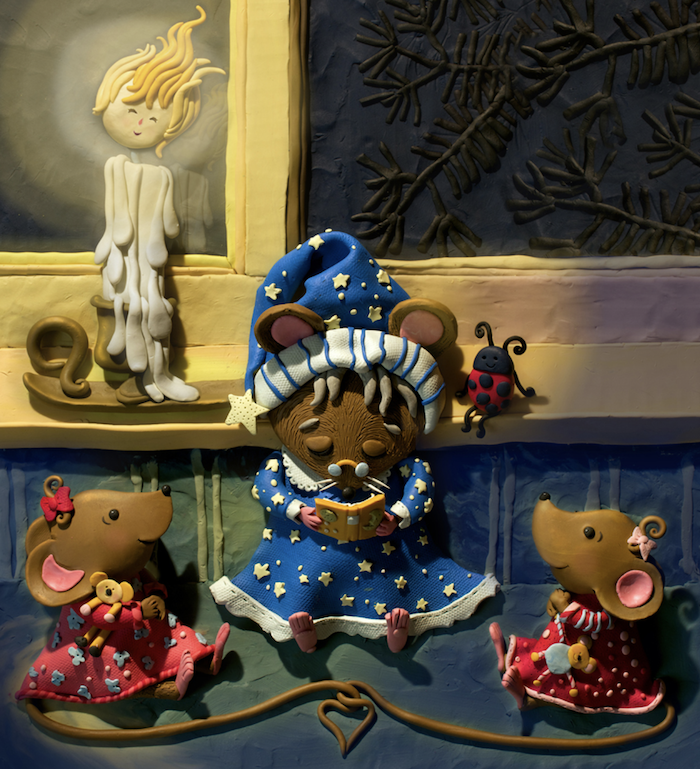 this is a plasticine painting of mice reading a bedtime story by Susan Eaddy