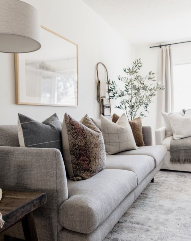 this is a photo of a beautifully styled sofa