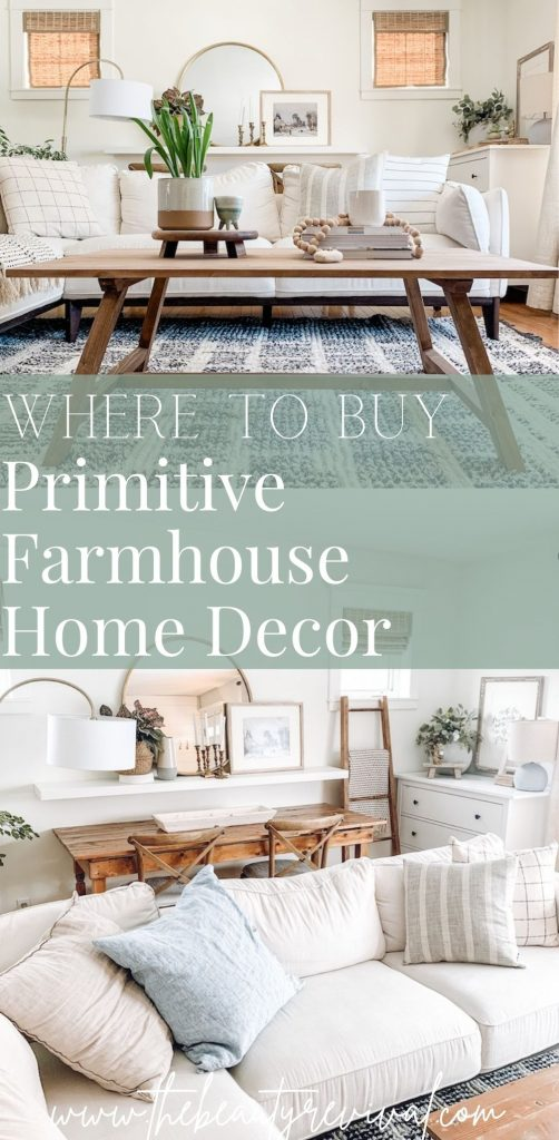 this is a pinterest pin for where to buy primitive farmhouse home decor