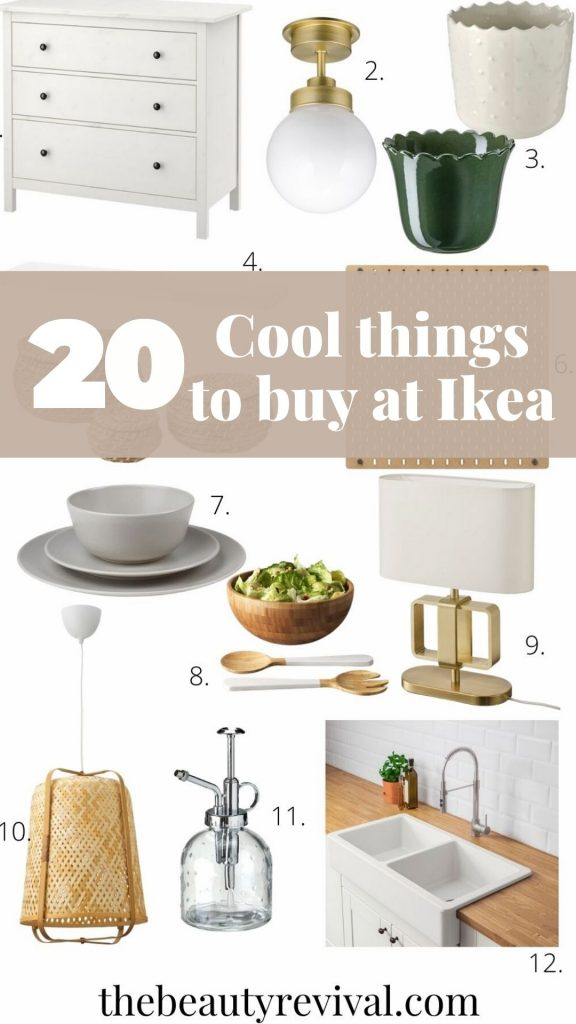 this is a Pinterest pin for 20 of the best products to buy at ikea