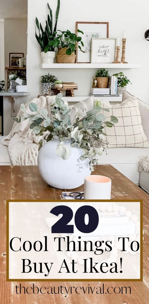 this is a pinterest pin for 20 best products to buy at ikea