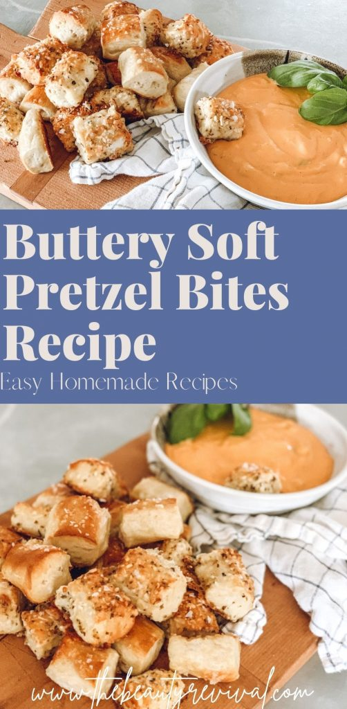 this is a pinterest pin for buttery soft pretzel bites