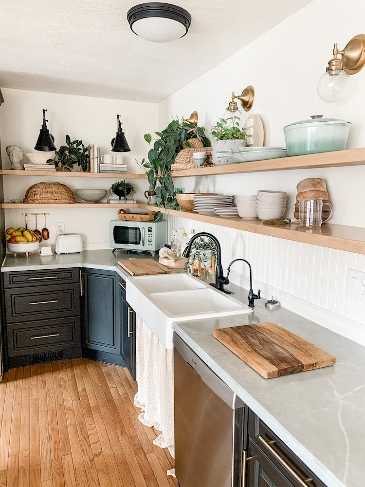 this is a photo of a small farmhouse kitchen
